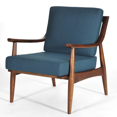 Adam Armchair Finish: Medium Walnut, Upholstery: Azure