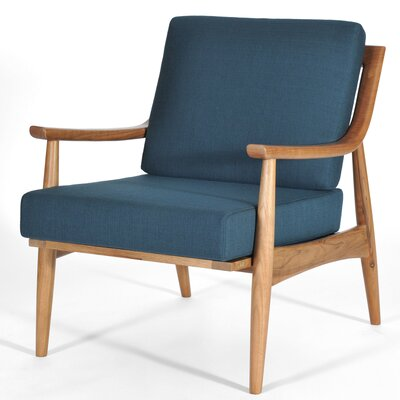 Adam Armchair Finish: Natural Walnut, Color: Azure