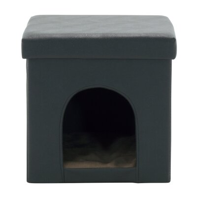Paws and Purrs Storage Ottoman Upholstery: Black