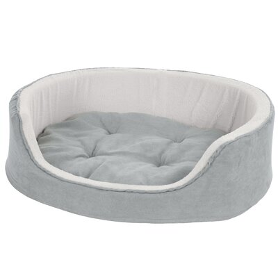 Microsuede Pet Bed Bolster with Zippered Closure Color: Gray, Size: Medium (21 L x 26 W)