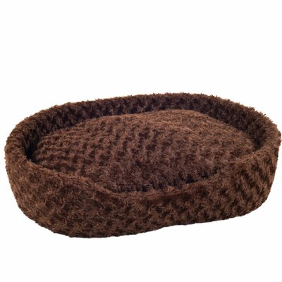 Cuddle Plush Pet Bolster Bed with Removable Insert Size: Small (14 L x 24 W), Color: Brown