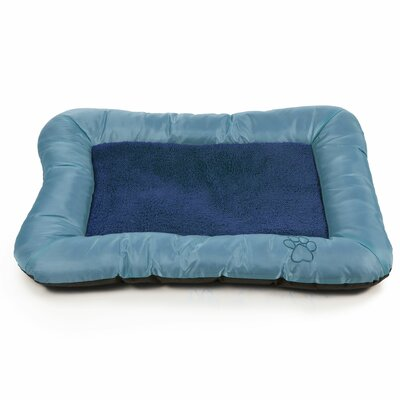 Plush Cozy Pet Bolster Bed with Embroidered Paw Print Size: Small (19 L x 24 W), Color: Blue
