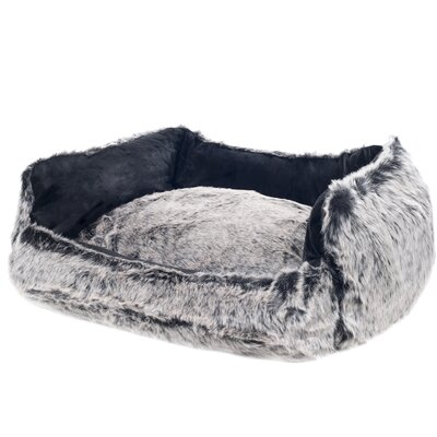 Faux Fur Dog Bolster Bed with Removable Cover Size: Large (27 L x 22 W), Color: Black
