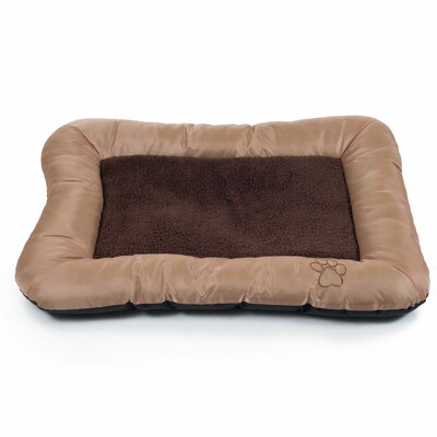 Plush Cozy Pet Bolster Bed with Embroidered Paw Print Size: Medium (24 L x 33 W), Color: Tan