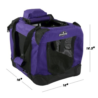 Soft Sided Pet Crate Size: 12.5H x 12W x 16L, Color: Purple
