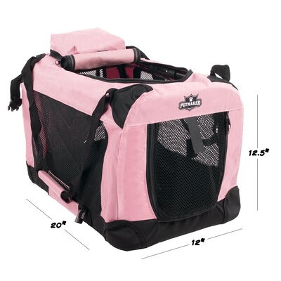 Soft Sided Pet Crate Size: 12.5H x 12W x 20L, Color: Pink