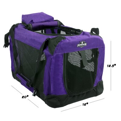 Soft Sided Pet Crate Size: 12.5H x 12W x 20L, Color: Purple