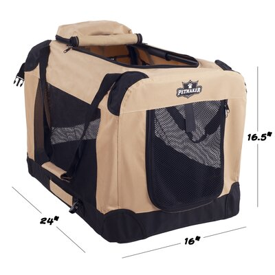 Soft Sided Pet Crate Size: 16.5H x 16W x 24L, Color: Khaki