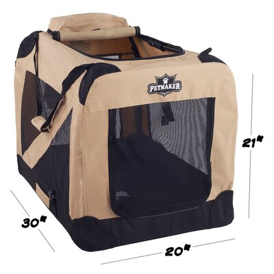 Soft Sided Pet Crate Color: Khaki, Size: 20.5H x 20W x 30L