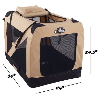 Soft Sided Pet Crate Size: 24.5H x 24W x 36L, Color: Khaki