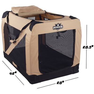 Soft Sided Pet Crate Size: 28.5H x 28W x 42L, Color: Khaki