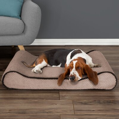 Orthopedic Memory Foam Bolster Dog Bed with Bolsters on Both Ends Color: Tan