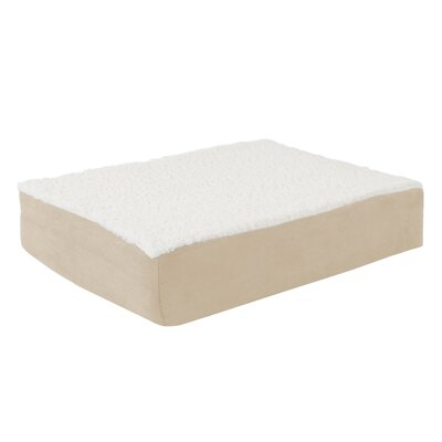 Orthopedic Sherpa Memory Foam Dog Mat Size: Small (20 W x 15 D), Color: Tan