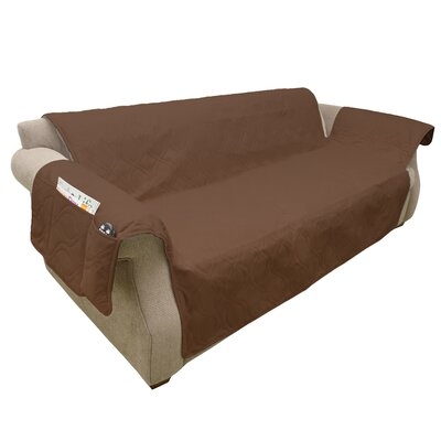 Waterproof Quilted Polyester Sofa Slipcover Upholstery: Brown