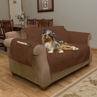 Waterproof Quilted Box Cushion Loveseat Slipcover Upholstery: Brown