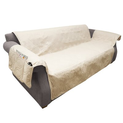 Waterproof Quilted Polyester Sofa Slipcover Upholstery: Tan