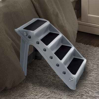 Folding Plastic Pet Stairs Color: Gray