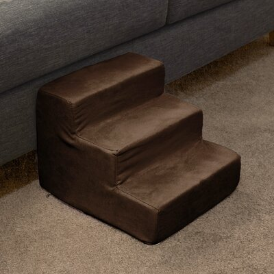 3 Step Foam Pet Stairs Color: Brown
