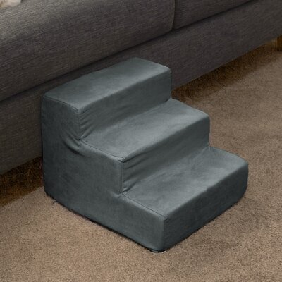 3 Step Foam Pet Stairs Color: Gray