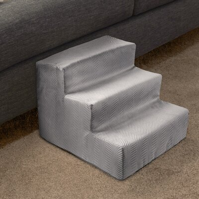 3 Step Foam Pet Stairs Color: Light Gray