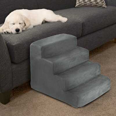 4 Step Foam Pet Stairs Color: Gray