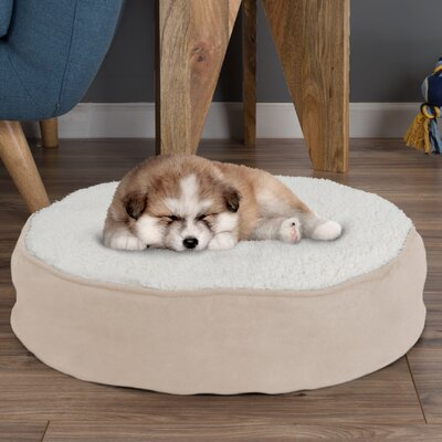 Deena Round Sherpa Memory Foam Pet Pillow Size: Medium (30 W x 30 D x 5 H), Color: Tan