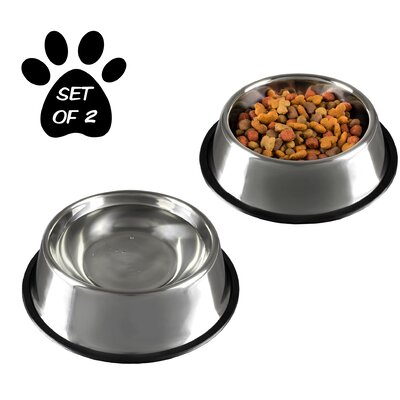 Stainless Steel Non-Slip Pet Bowl Size: 32 oz