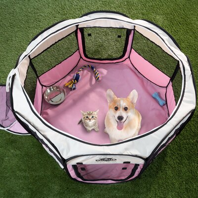 Portable Pop up Play Pet Pen Size: 15.5 H x 33 W x 33 D, Color: Pink