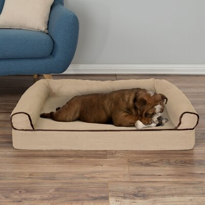 Orthopedic Dog Bolster Size: Medium (35.5 W x 24 D x 7.5 H)), Color: Tan