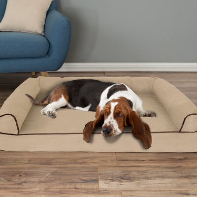 Orthopedic Dog Bolster Size: Large (42 W x 28 D x 7.5 H)), Color: Tan