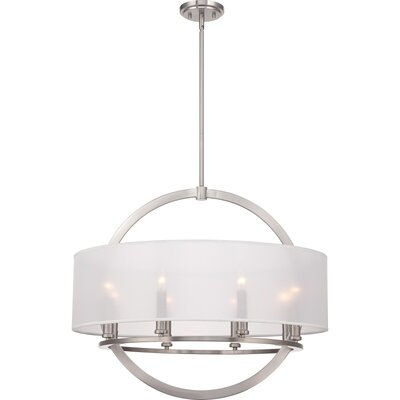 Portland 8-Light Drum Pendant Finish: Brushed Nickel