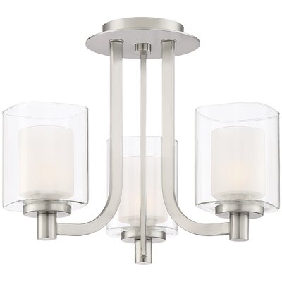 Moreland 3-Light Shaded Chandelier Finish: Brushed Nickel