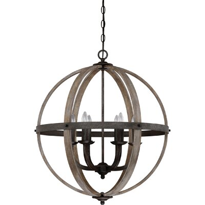 Burrill 6-Light Globe Pendant Finish: Rustic Black