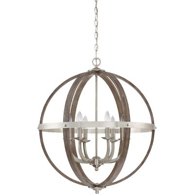 Burrill 6-Light Globe Pendant Finish: Brushed Nickel