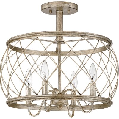 Mina 4-Light Semi Flush Mount Finish: Silver