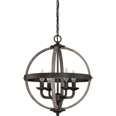 Burrill 4-Light Globe Pendant Finish: Rustic Black