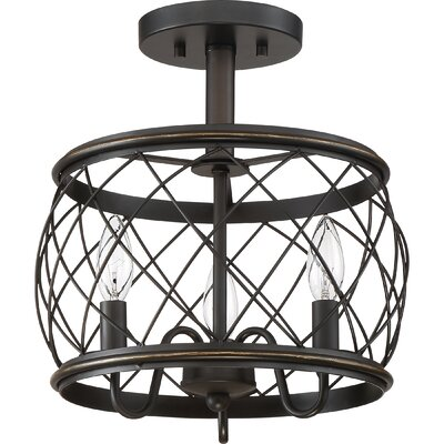 Mina Cottage 3-Light Semi Flush Mount Finish: Palladian Bronze