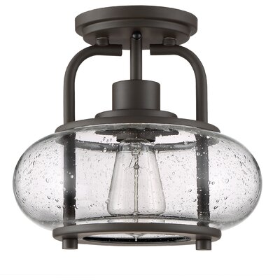 Braxton 1-Light Semi Flush Mount Color: Bronze