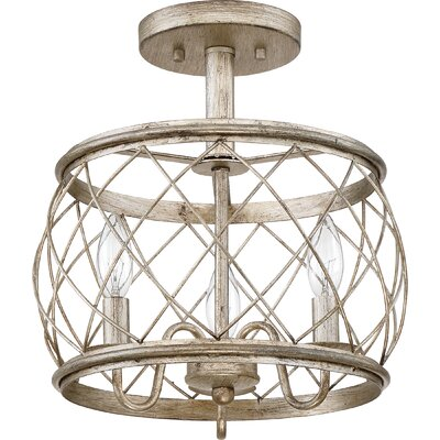 Mina Cottage 3-Light Semi Flush Mount Finish: Silver