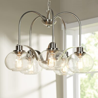 Defeo 5-Light Shaded Chandelier Finish: Brushed Nickel