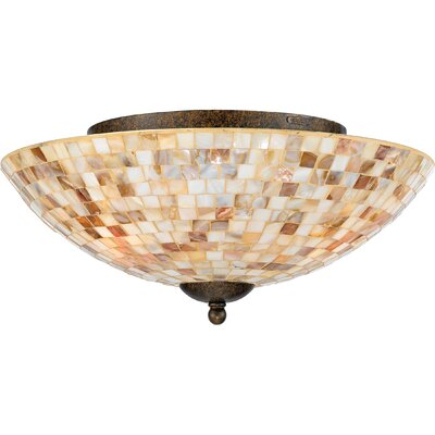 3-Light Monterey Mosaic Semi Flush Mount