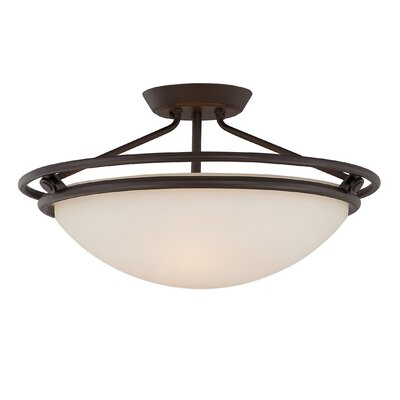 Woolforlk 3-Light Semi Flush Mount Finish: Western Bronze