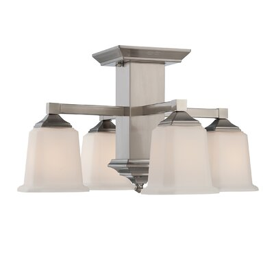 Woolforlk Traditional 4-Light Semi Flush Mount Finish: Brushed Nickel