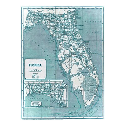 '1842 Florida Map' Graphic Art Print on Canvas