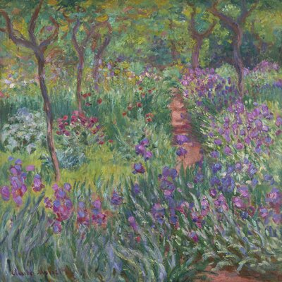 'The Artist's Garden in Giverny' by Monet Oil Painting Print on Canvas