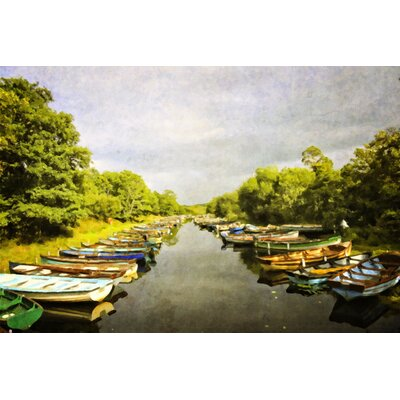 'Ross Castle Row Boats' Photographic Print on Canvas