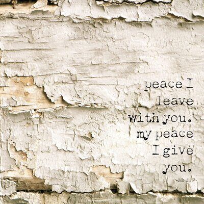 'Simple Words Religious Peace I Leave You' Graphic Art Print on Canvas