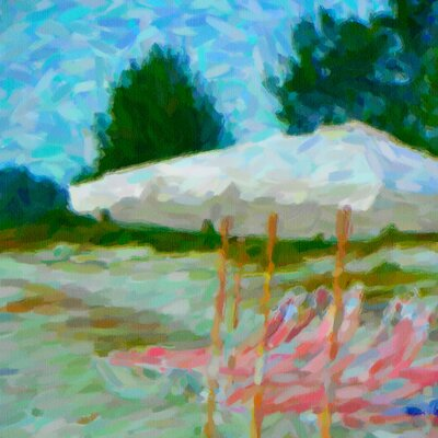 'Florida Beach Chairs Impressionist' Print on Canvas