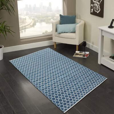 Hand-Woven Bristol Blue Area Rug Rug Size: 2 x 3