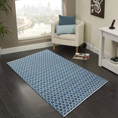Hand-Woven Bristol Blue Area Rug Rug Size: 3 x 5